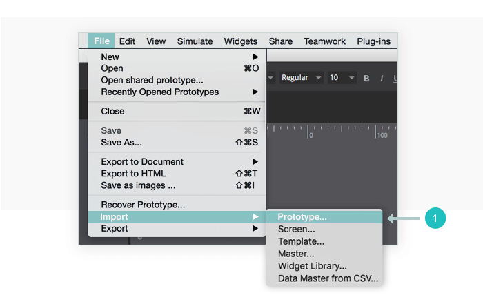 Select Import>Prototype from the File Menu