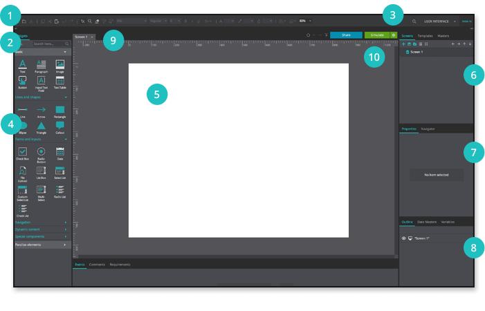 Justinmind Wireframing tool User Interface