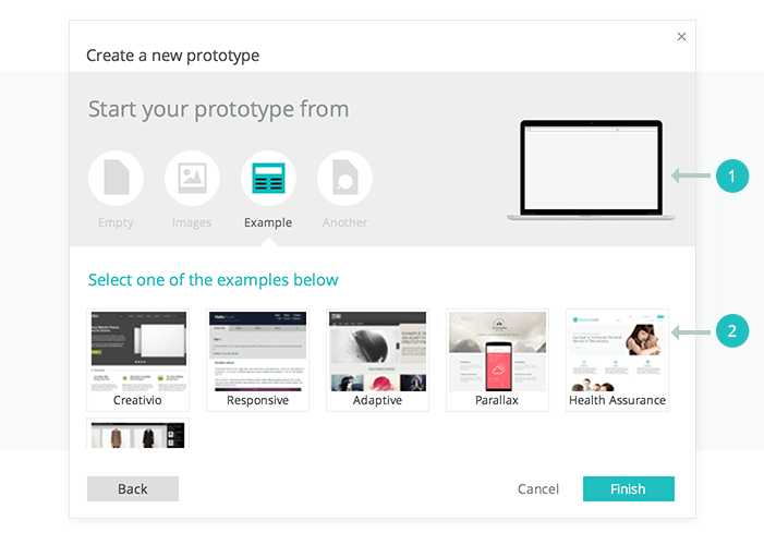 Create interactive wireframe from examples