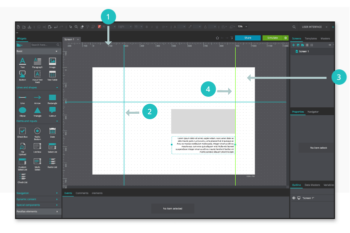 Interactive wireframe workspace: rules, guides, grid