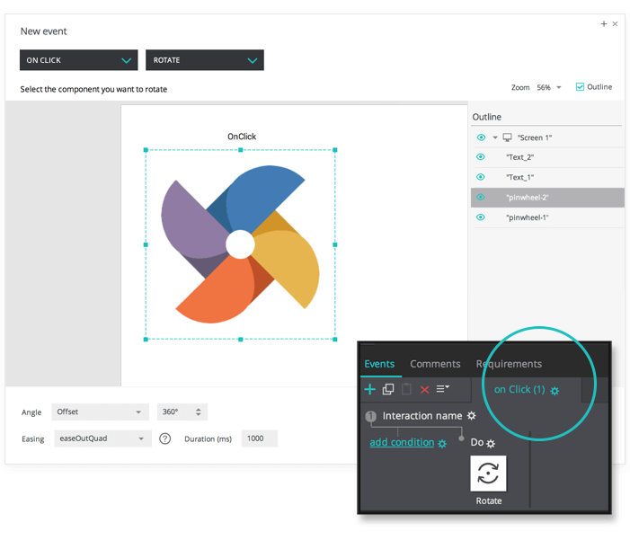 Rotate elements on click in your interactive wireframes