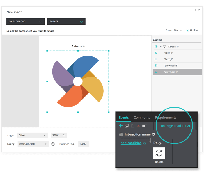 Rotate elements on page load in your interactive wireframe