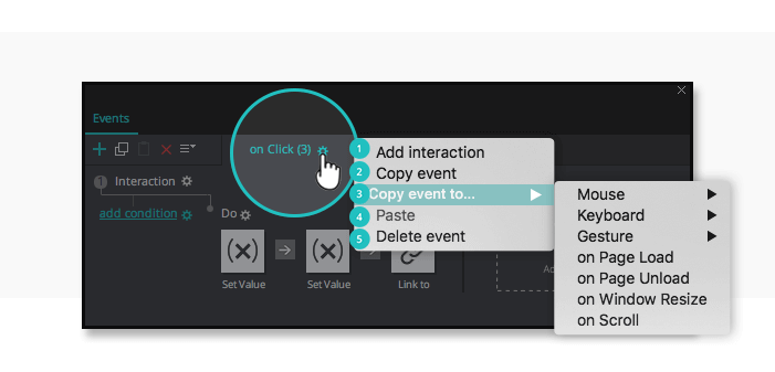 Interactive prototypes: event options