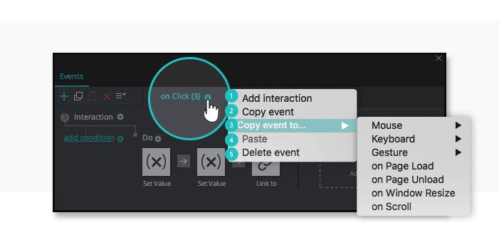 Interactive prototypes: event options