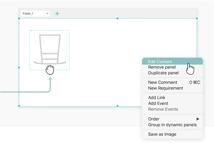 Interactive wireframe dynamic panel: add content