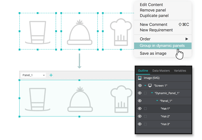 Interactive wireframe dynamic panel: groups of widgets