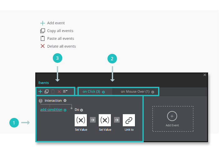 Interactive wireframes: the events tab