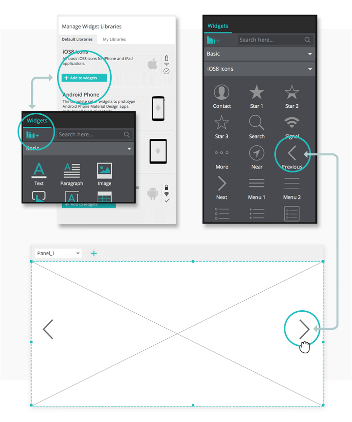 Interactive wireframes: slideshow environment