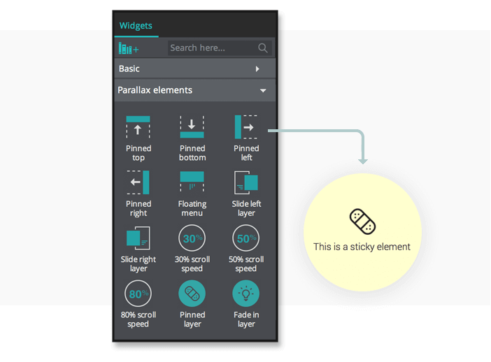 Parallax Prototyping: Pinned Layer Widget