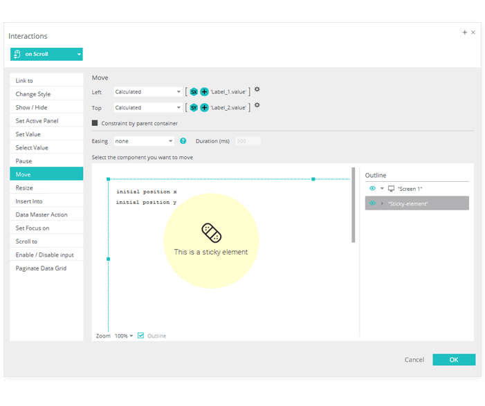 Parallax Prototyping: Pinned Layer events