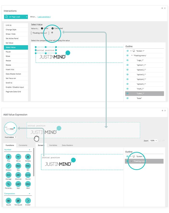 Parallax Wireframe: Fixed menu bar widget