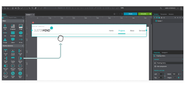 Parallax Wireframe: Floating menu example
