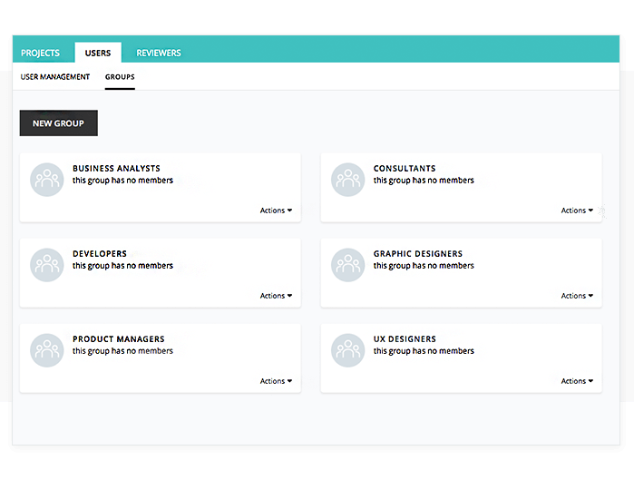 Online account: group management tab