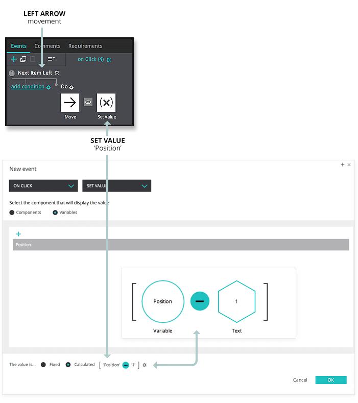 Interactive prototype carousel: set value event