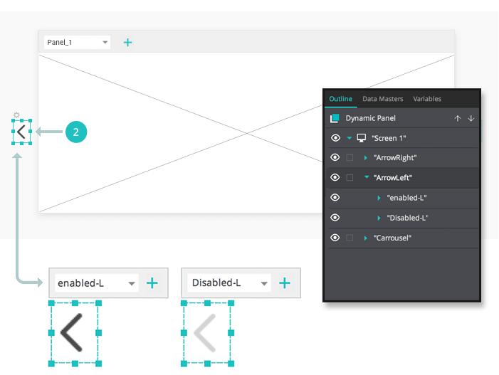 Interactive prototype carousel: set up the navigation arrow widgets