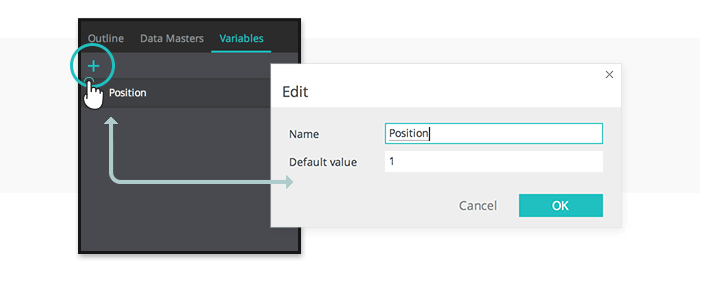 Interactive wireframes slideshow: set up the position variable