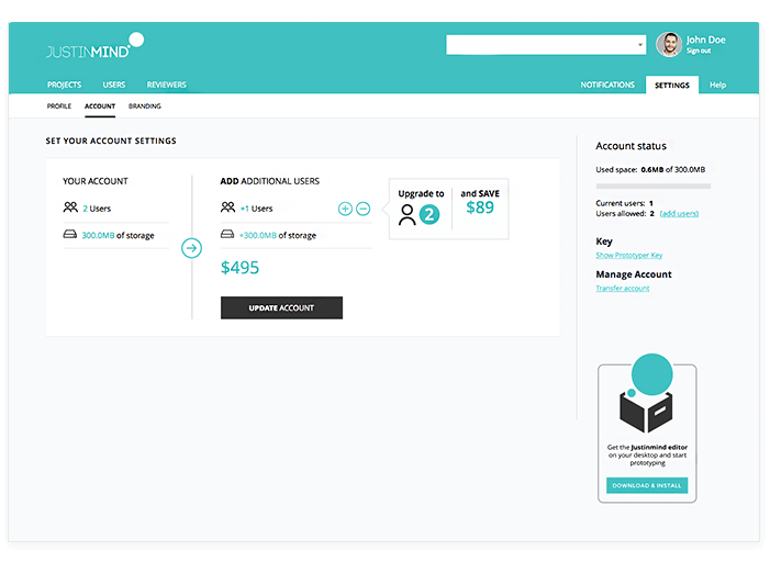 Justinmind: set your account settings