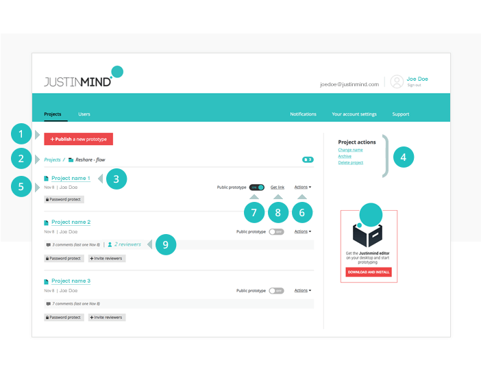 Prototyping tool Online Account: prototypes page