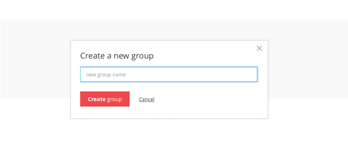 Prototyping tool online account: create a new group