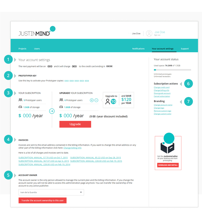 Justinmind prototyping tool: online account settings page