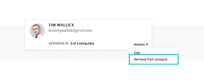 Remove user from online account