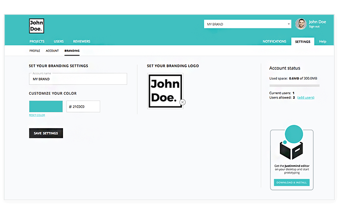 Justinmind: set your brand settings