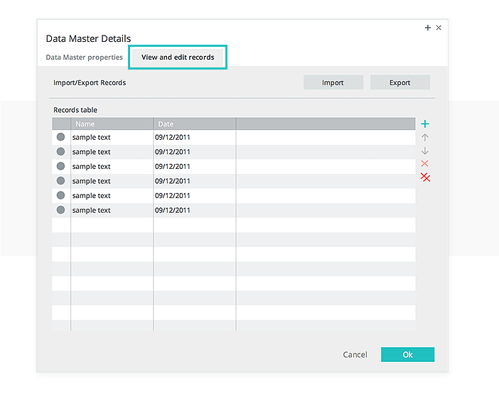 Data-driven prototyping: view and edit records of a data master