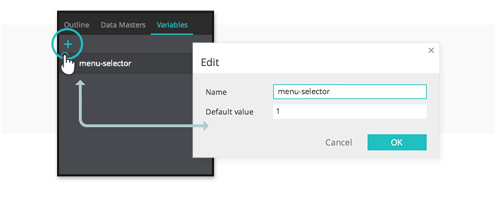 In the properties tab create a variable
