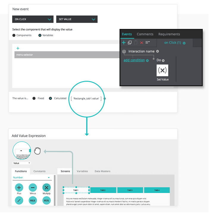 Create a set value event in your interactive prototype