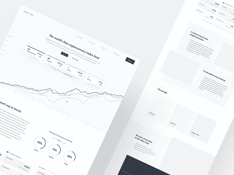 Example of website wireframe design - cryptocurrency exchange fund