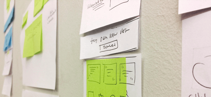 scrum-prototyping-Justinmind-redesign-paper-sketches-design-step