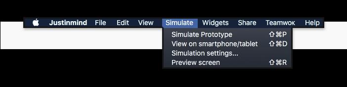 Prototyping tool - Simulate Menu