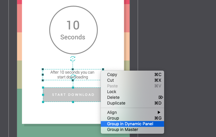 Group text and button into dynamic panel