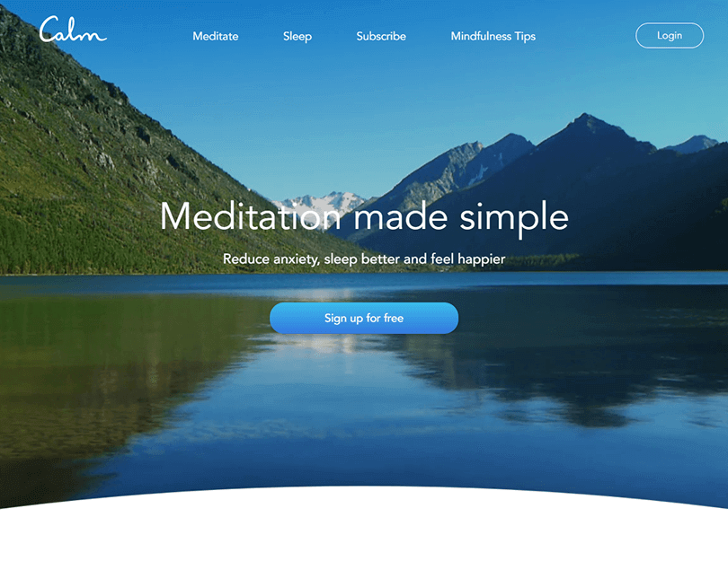 ux-landing-page-examples-calm