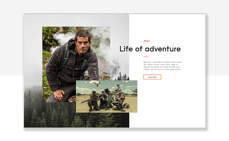 example of parallax scrolling - bear grylls website