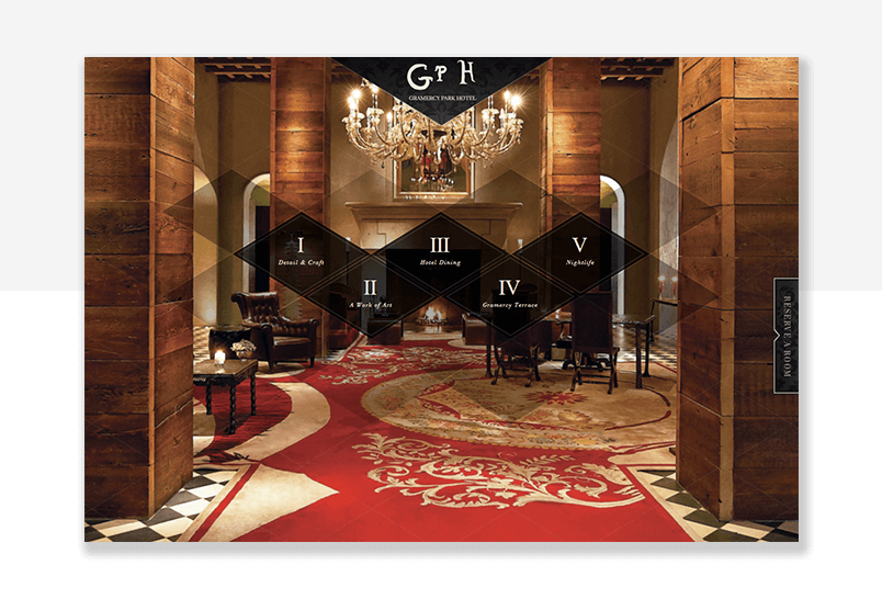Fancy hotel website - example of parallax effect in website