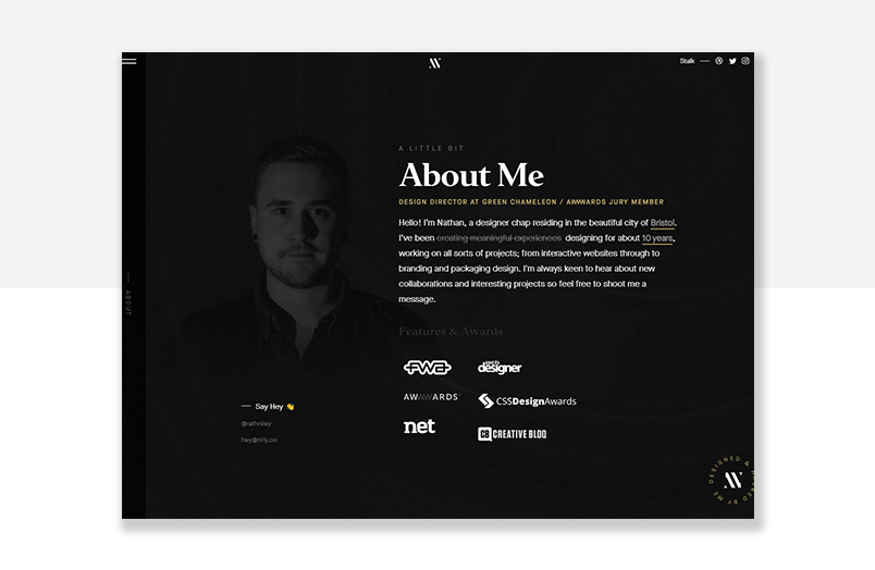 UX designer website example - parallax effect scrolling
