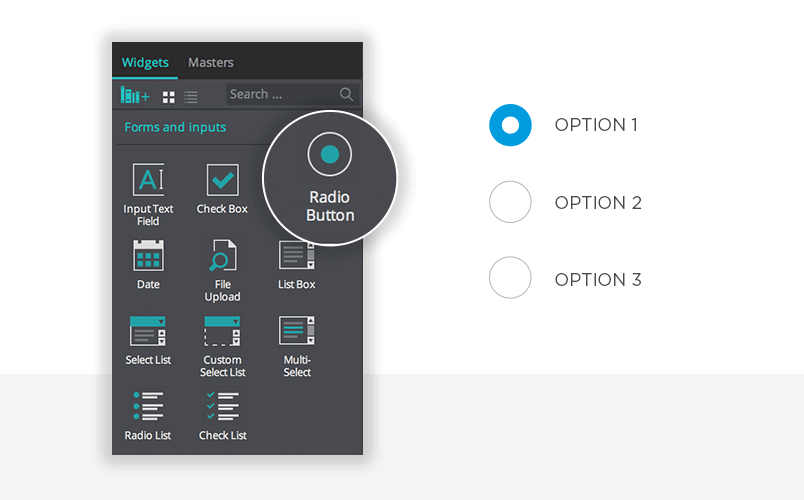 Design radio buttons with Justinmind prototypes - Justinmind