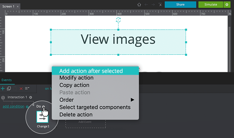 add action after change style