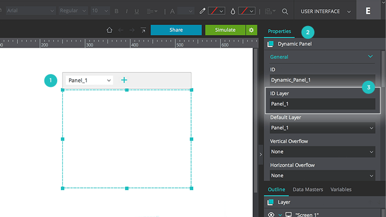 Display multiple content in the same prototype screen view