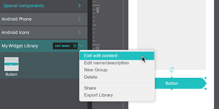 Designing with readymade, customizable UI widget libraries