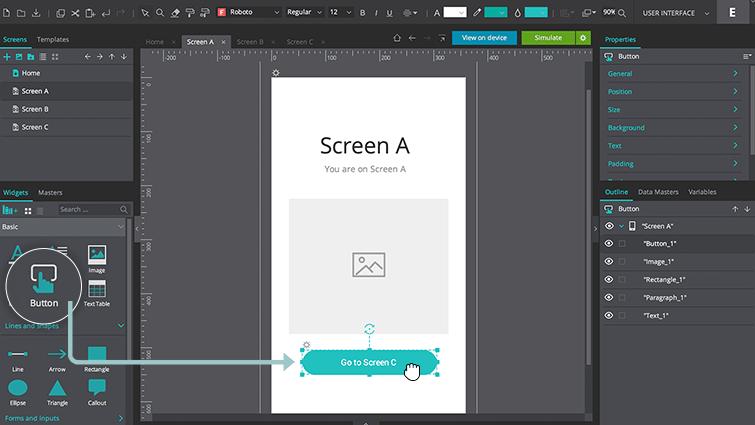 screen a button