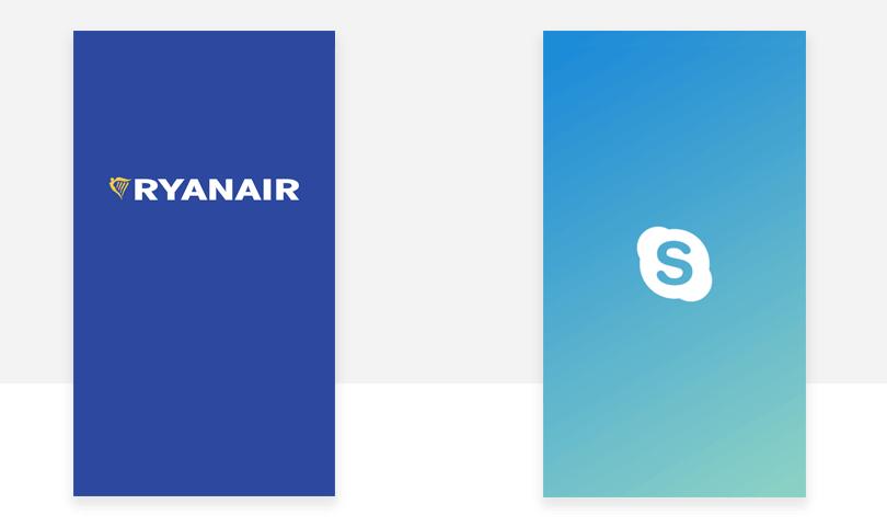 ryanair and skype splash screen examples