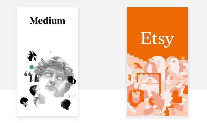 medium and etsy examples of good splash screen design
