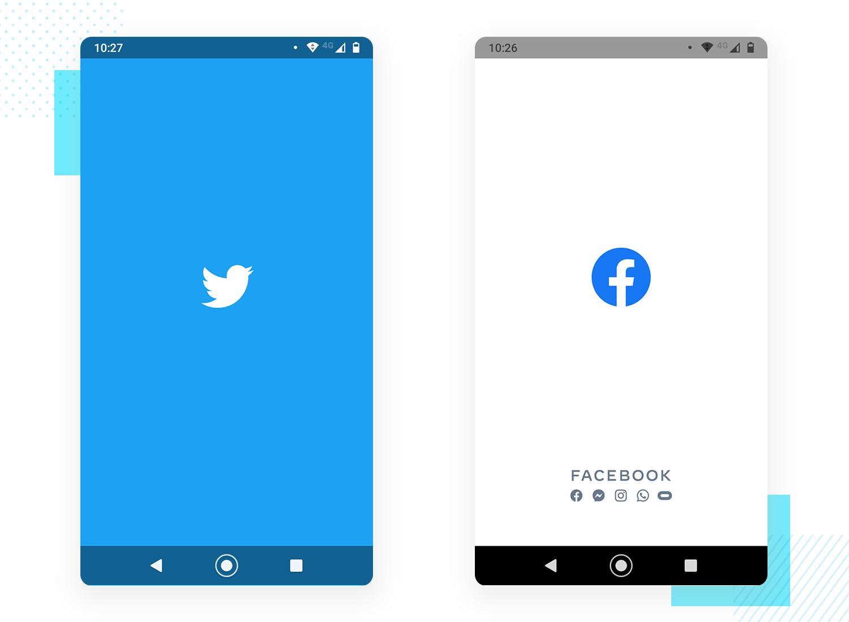 twitter and facebook splash screen design examples