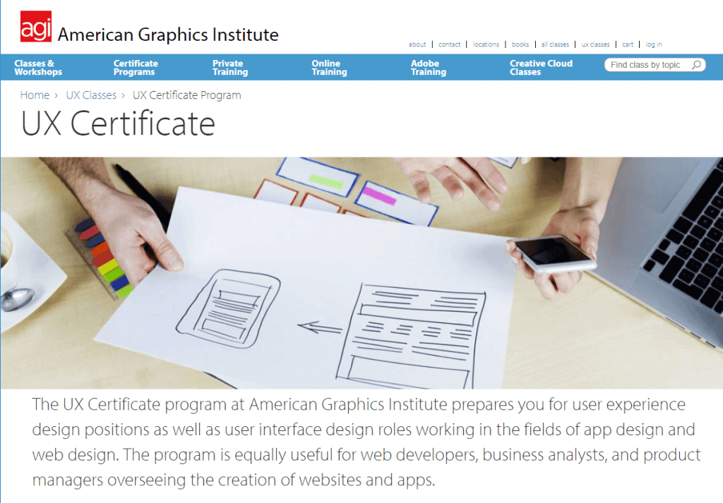 in-classroom ux deign course at american institute of graphics