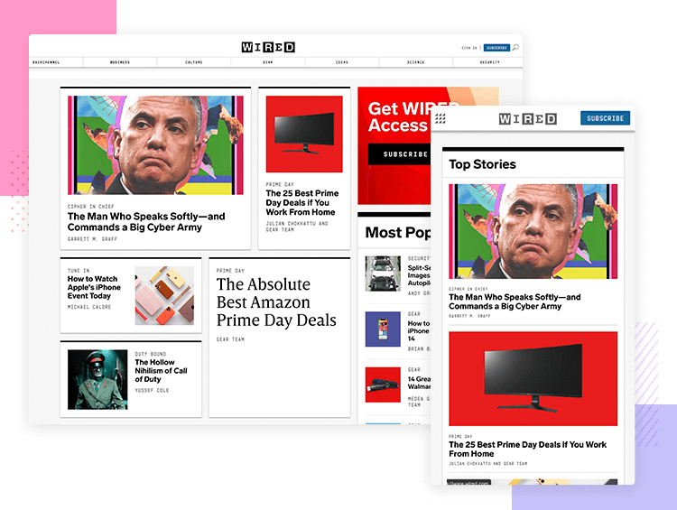 Wired - Responsive website examples - Justinmind