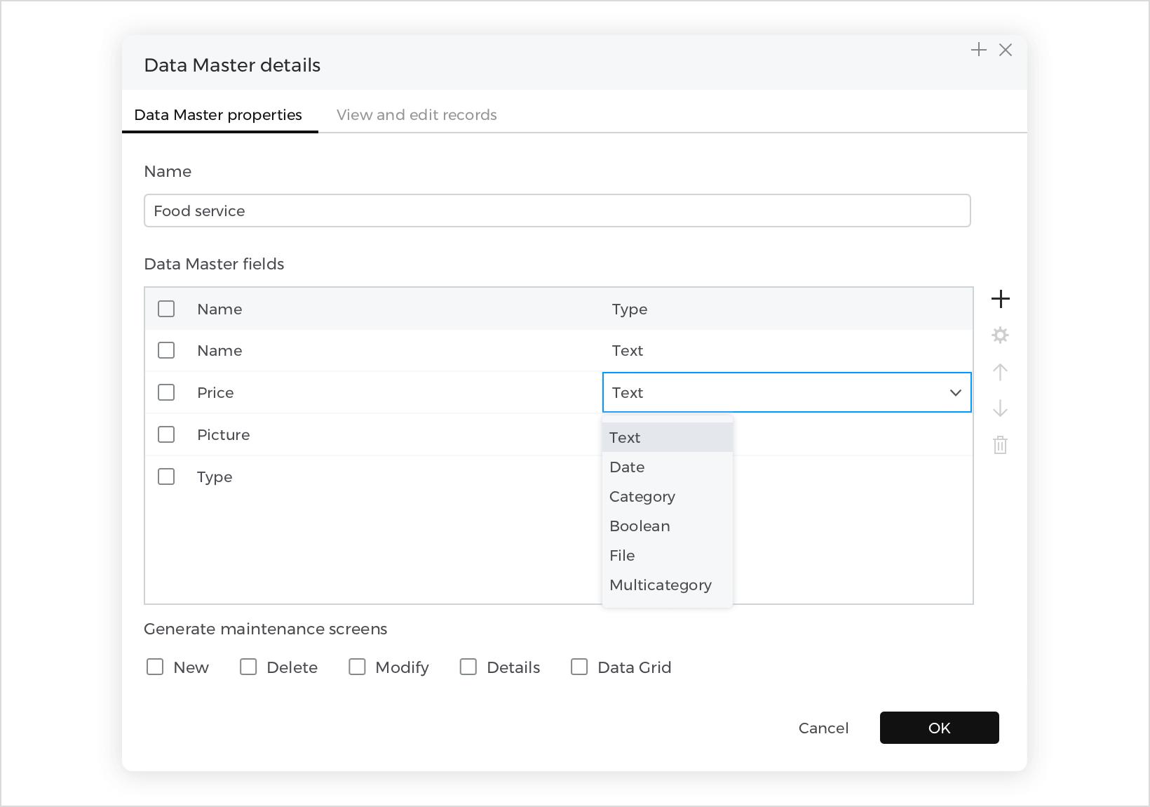 Data Master field types