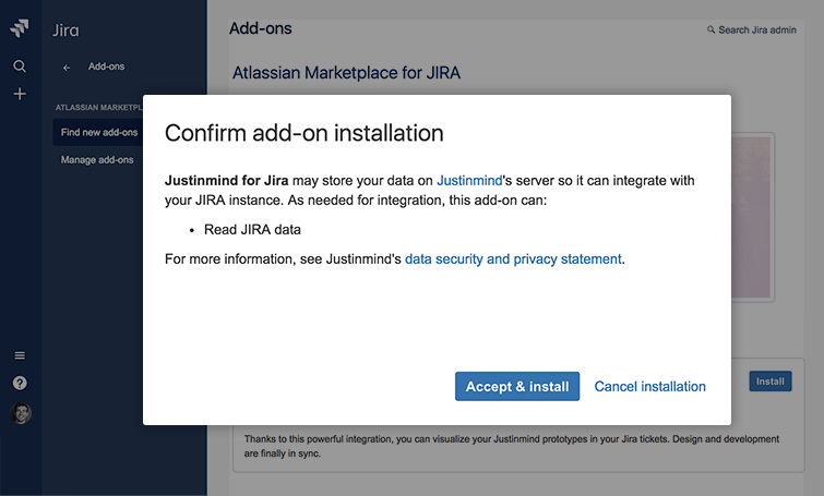 accept and install jira