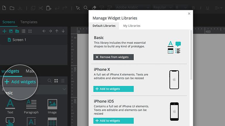 Add/Manage widget libraries
